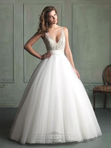 Mariage - Deep V-neck and V-back Beaded Bodice Ball Gown Wedding Dress