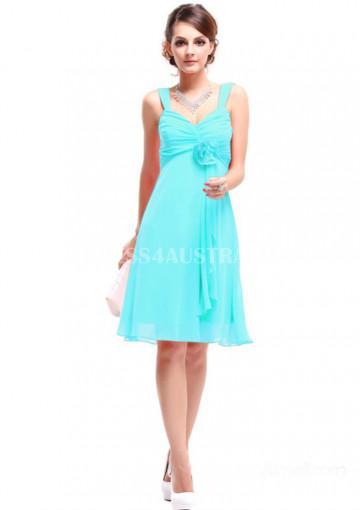 Hochzeit - Buy Australia A-line Straps Blue Chiffon Knee Length Star Style Bridesmaid Dresses 8132252 at AU$111.08 - Dress4Australia.com.au
