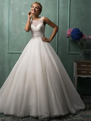 Illusion Neckline A Line Wedding Dresses Featured Sweetheart