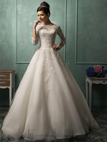Mariage - Three Quarter Sleeves Illusion Neckline A-line Wedding Dress