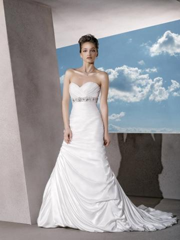 d83774ae974 Satin Classic Strapless Wedding Dress with Ruched Sweetheart Neck and  Trumpet Skirt
