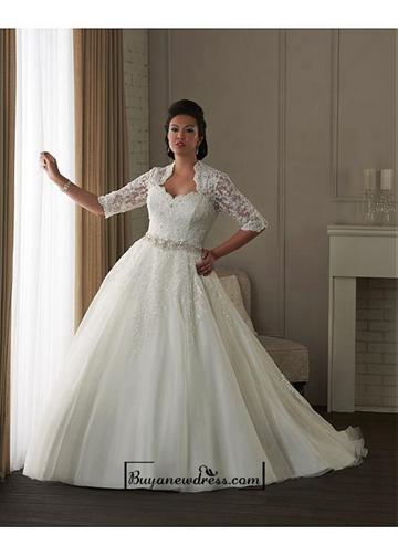 Wedding - Alluring Organza & Tulle & Satin Queen Anne Neckline Natural Waistline Ball Gown Plus Size Wedding Dress