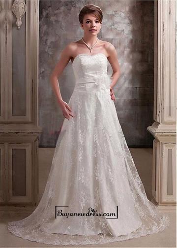 Hochzeit - Alluring Satin&Lace A-line Sweetheart Neckline Natural Waistline Wedding Dress