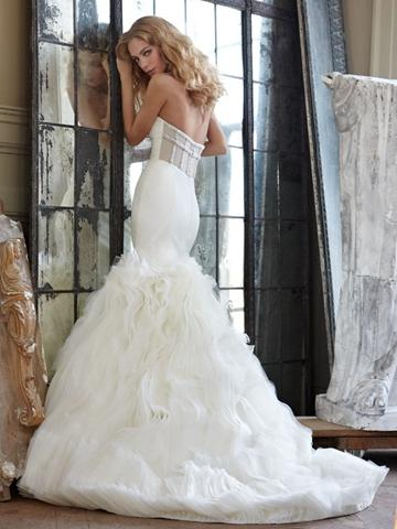 Wedding - Strapless Fit-and-flare Unique Wedding Dress with Organza Manipulated Skirt
