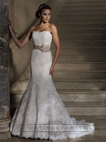 Wedding - Strapless Mermaid Scalloped Back Lace Appliques Wedding Dress