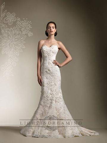Mariage - Trumpet Lace Appliques Beaded All Lace Over Wedding Dress with Long Sleeve Jacket