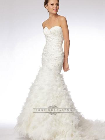 Hochzeit - Trumpet Strapless Sweetheart Embroidered Lace and Tulle Over Silky Taffeta Wedding Dress