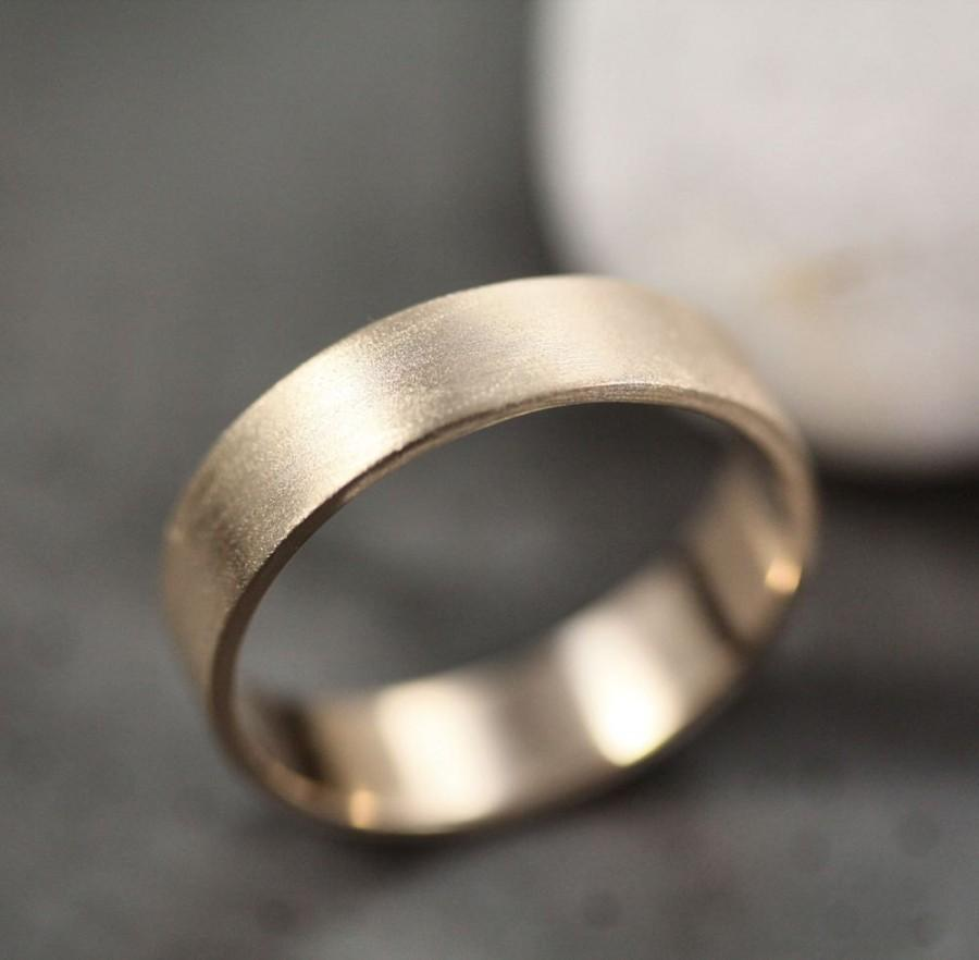 Mens Gold Wedding Band Unisex 5mm Wide Brushed Flat 14k Recycled