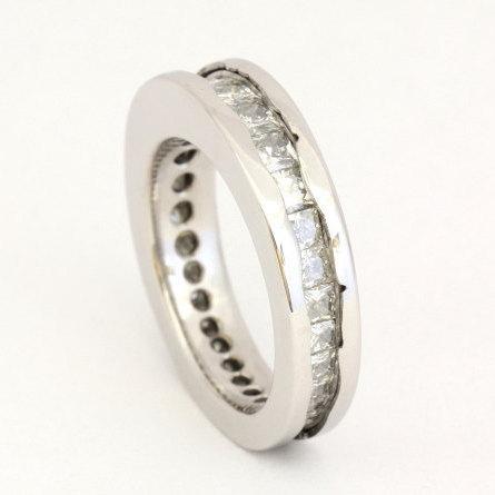 Mariage - Moissanite Ring, Wavy Platinum Wedding Band, Moissanite Eternity Band