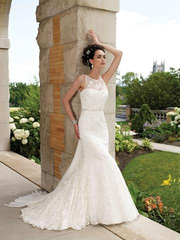 Sleeveless lace slim a line wedding gown with hand beaded for Hand beaded wedding dresses
