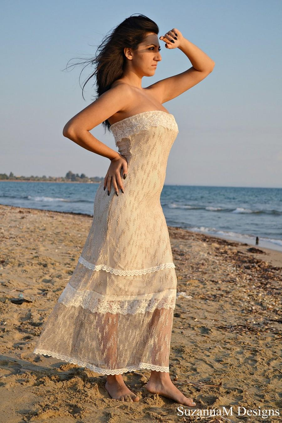 Ivory Lace And Net Bohemian Wedding Dress Bridal Gown Long Beach