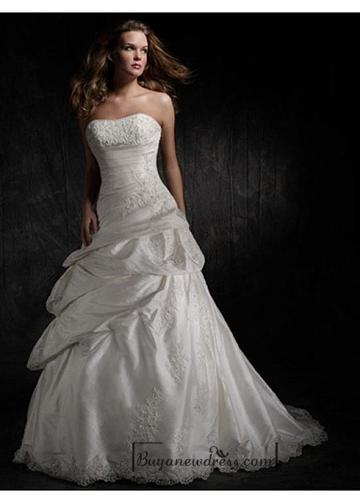 Boda - Beautiful Elegant Exquisite Taffeta Strapless Wedding Dress In Great Handwork