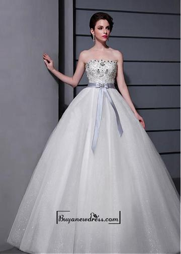 Wedding - Alluring Tulle&Satin A-line Strapless Neckline Natural Waistline Wedding Dress