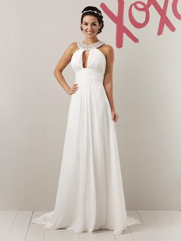 Mariage - Halter Floor Length Fun Summer Wedding Dress with Beaded Grecian Collar
