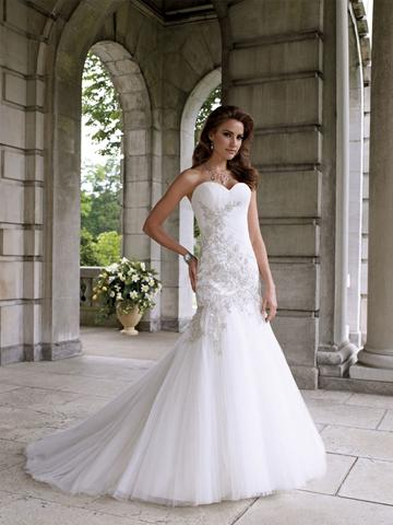 Strapless Tulle And Lace Mermaid Formal Wedding Dress With Strapless