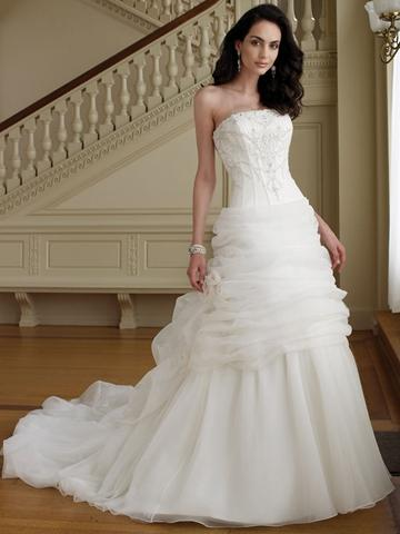 Slimming Perfect Beaded Strapless Organza Ball Gown Wedding Dress With Draped
