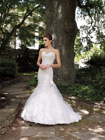 Hochzeit - Strapless Sequin Lace Over Satin Sweetheart Mermaid Wedding Dress
