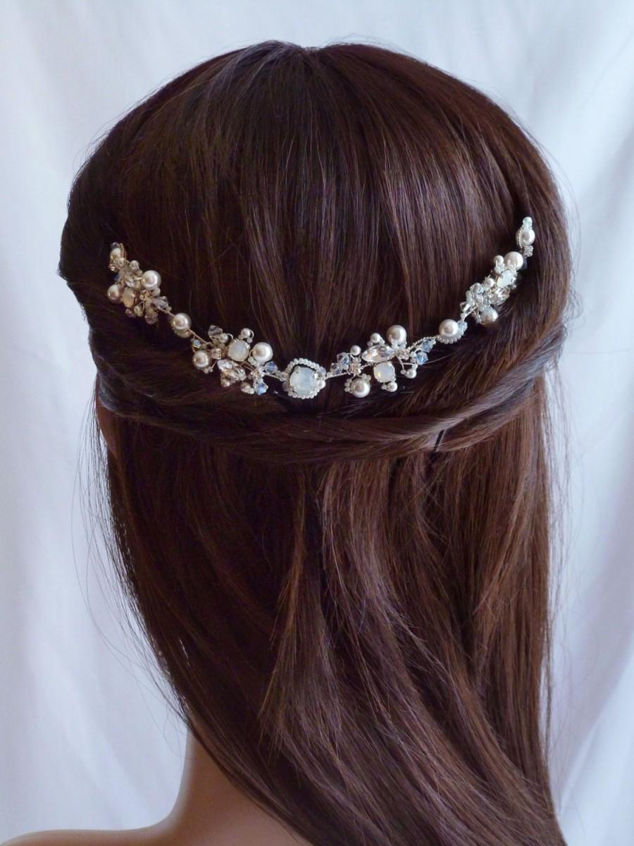 Opal White Crystal Bridal Headpiece - Wedding Crystal Hair Comb - Crystal  Rhinestones Wedding Hair Comb Opal White and Silver 36201d69a6d