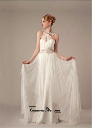 Mariage - Amazing Glamorous Tulle & Satin Sheath Halter Neckline Raised Waistline Wedding Dress