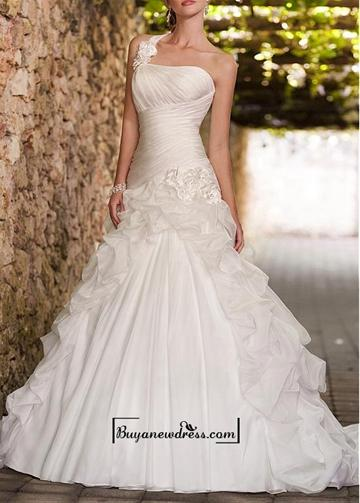 Hochzeit - Amazing Organza Satin & Satin A-line One Shoulder Neckline Ruchd Drop Waist Pick-up Wedding Gown With Handmade Flowers