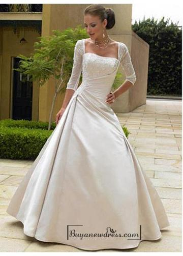 Свадьба - Beautiful Exquisite Gorgeous Satin Illusion 3 / 4-length Sleeves Wedding Dress In Great Handwork