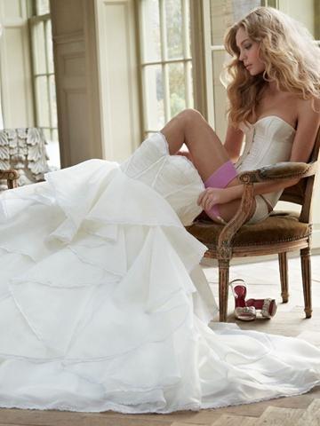 Wedding - Unique Corset Bodice Strapless Bridal Ball Gown Wedding Dress Spring