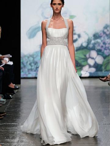Hochzeit - Elegant White Chiffon Halter Neck Natural Waist Wedding Dress with Crystal Straps