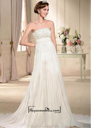 Wedding - Alluring Satin&Lace&Chiffon Empire Strapless Neckline Empire Waistline Wedding Dress