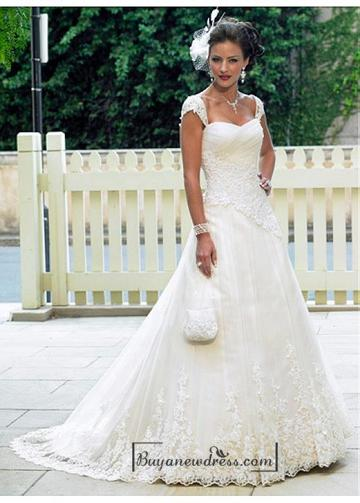 Mariage - Beautiful Elegant Tulle A-line Queen Anne Wedding Dress In Great Handwork