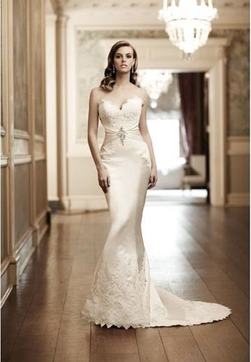 Wedding - Beaded Embellishment Satin Strapless Sweetheart Mermaid Sexy Wedding Dress