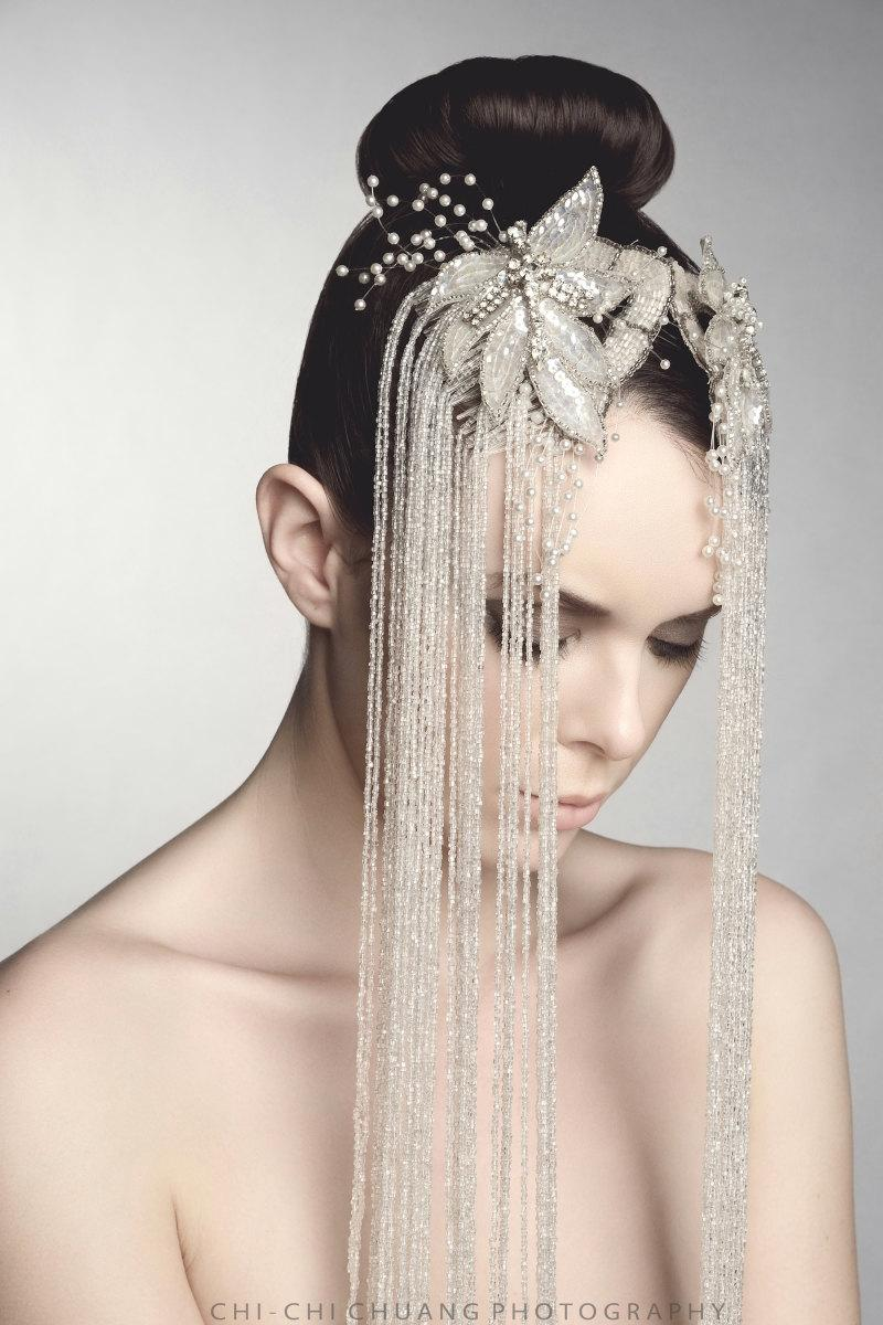 Mariage - Statement Bridal Combs, White Glass Beaded Hair Adornment, Haute Fabulous Accessory, One of a Kind