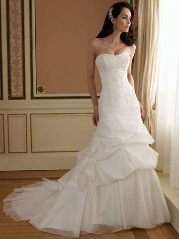 Wedding - Curved Neck A-line Wedding Dress with Lace Bodice and Chapel Train Pick-up Skirt