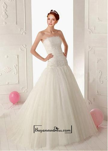 Свадьба - Adorable Tulle & Satin A-line Strapless Neckline Dropped Waist Beaded Wedding Dress With Lace Appliques