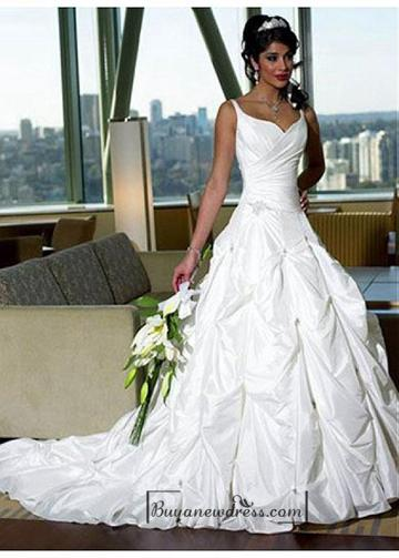 Свадьба - Beautiful Elegant Taffeta A-line Spaghetti Straps Wedding Dress In Great Handwork