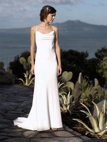 Boda - Sexy Formal Spaghetti Straps Square Neckline Deep Backless Wedding Dress