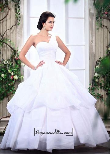زفاف - Adorable Satin & Organza Satin Ball gown One Shoulder Neckline Raised Waist Bridal Dress