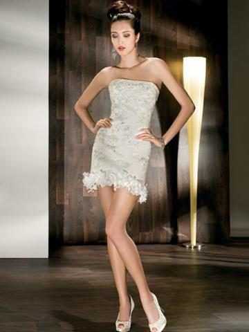 Wedding - Strapless All Lace Fit and Flare Long to Short Wedding Dress with Lace-up Back