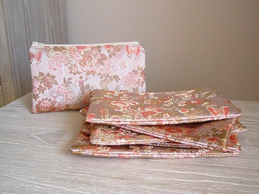 Bridesmaid Clutch Set Of 6 Asian Wedding Bridesmaids Gifts Peach Purse Bridal Party Wristlets Pink Handbags Anese