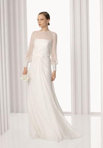 Boda - Long Sleeves Chiffon Jewel A-line Elegant Wedding Dress