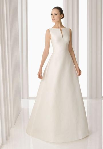 Свадьба - Satin Bateau A-line Simple Wedding Dress with Bow on Back