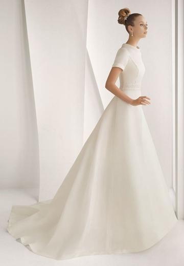Mariage - Satin Jewel A-line Elegant Wedding Dress