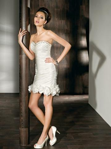 Mariage - Satin Fit and Flare Long to Short Wedding Dress with Beaded Sweetheart Neck and Tiered Skirt
