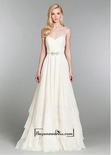 Mariage - Attractive Tulle & Satin A-line Spaghetti Straps Natural Waistline Wedding Dress