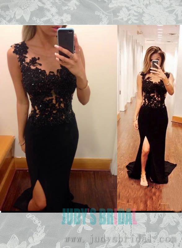 Wedding - Sexy black illusion lace top slit sheath prom dress