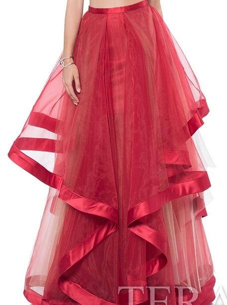 Wedding - PS16001 Couture long skirt with ribbon high-low hemline