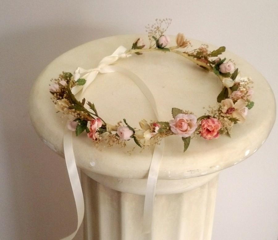 Bridal Flower Wreath For Hair : Peach woodland bridal party flower crown spring