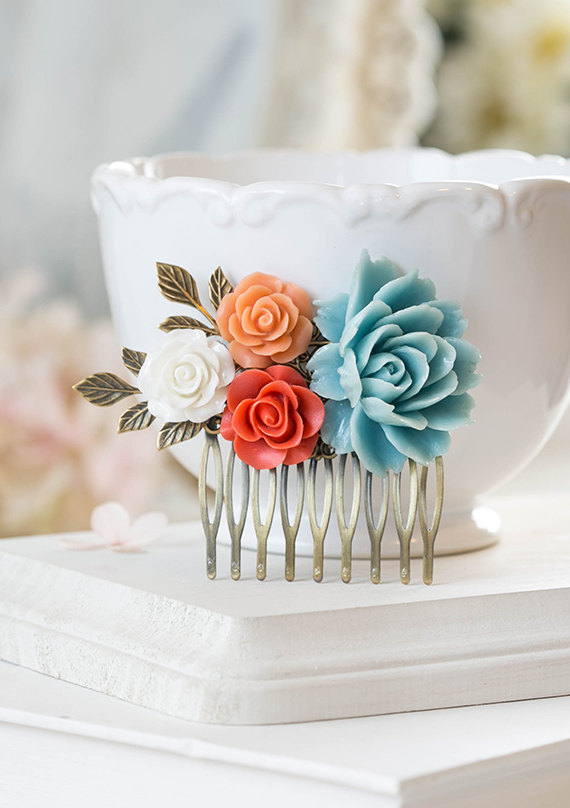 Mariage - Burnt Orange Tangerine White Ivory Sky Blue Flowers Hair Comb Blue Coral Wedding Bridal Hair Comb Bridesmaid Gift Romantic Country Chic
