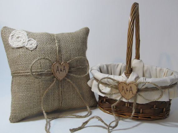 Hochzeit - Personalized Rustic Flower Girl Basket and Ring Bearer Pillow
