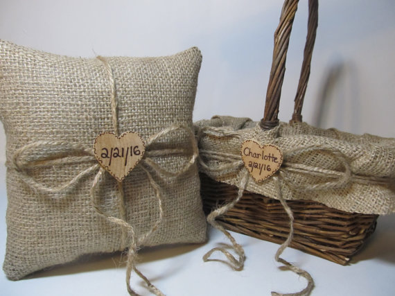 Burlap flower girl basket and ring bearer pillow : Rustic burlap flower girl basket and ring bearer pillow