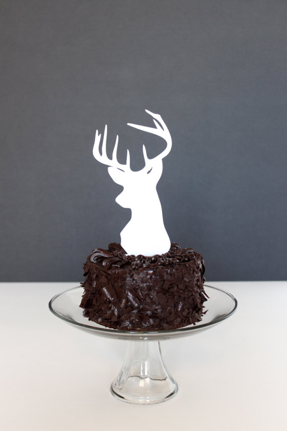 Mariage - Groom's Cake Topper: deer head cake topper available in matte white and matte black